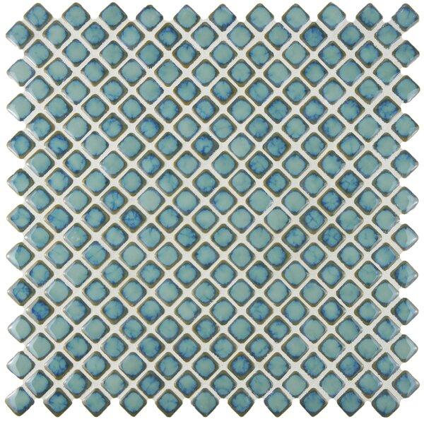 Gem 0.71 x 0.71 Porcelain Mosaic Tile in Glossy Marine by EliteTile