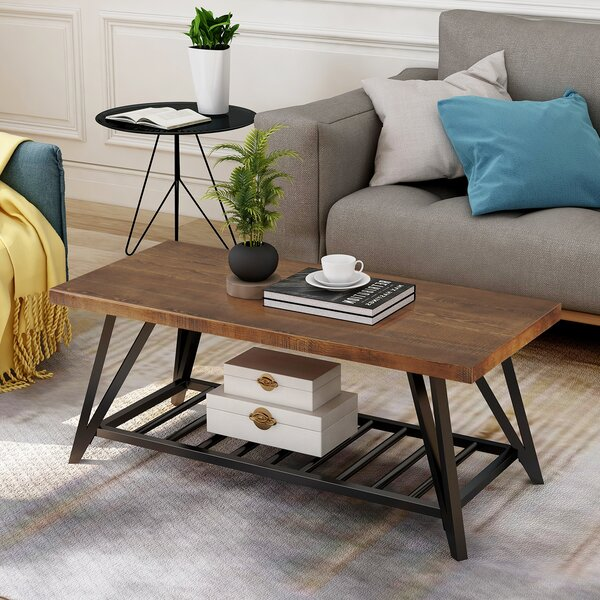 Giles Trestle Coffee Table With Storage By Foundry Select