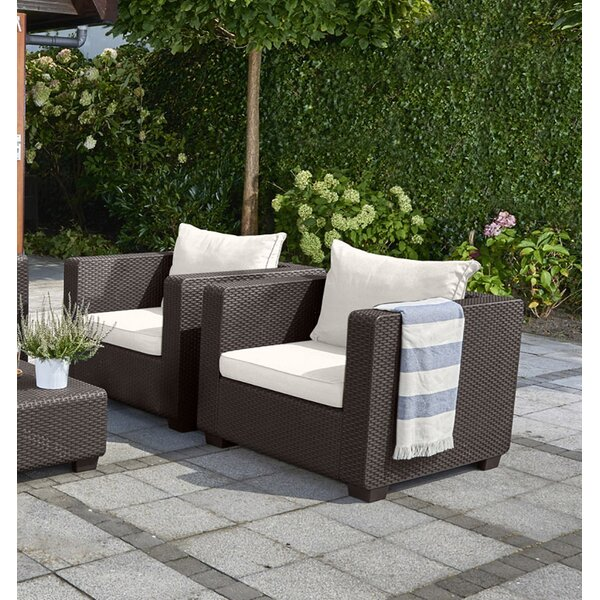 Halloran Patio Chair with Sunbrella Cushions by Ivy Bronx