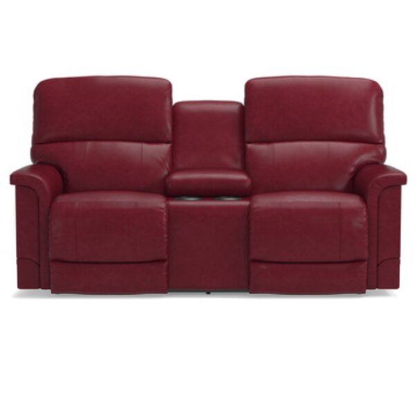 Oscar Leather Reclining Loveseat with Console by La-Z-Boy