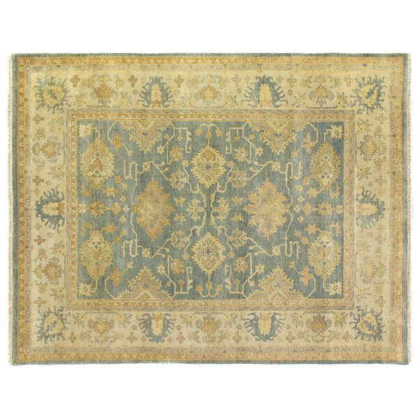 Fine Oushak Hand-Knotted Wool Gray/Ivory Area Rug by Exquisite Rugs