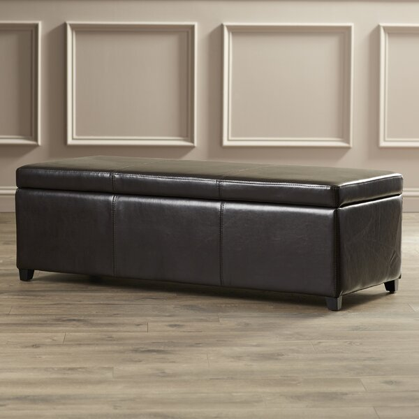 Ephraim Leather Storage Bench by Charlton Home