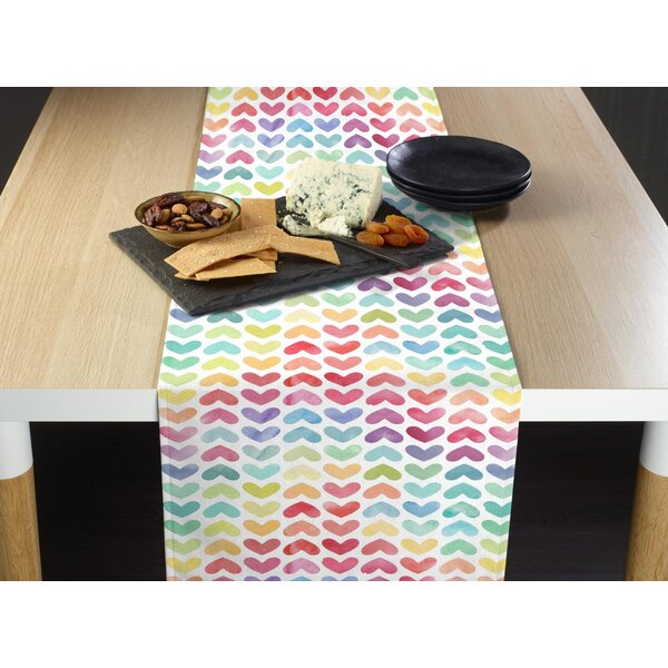 Mccollister Watercolor Hearts Table Runner by Latitude Run