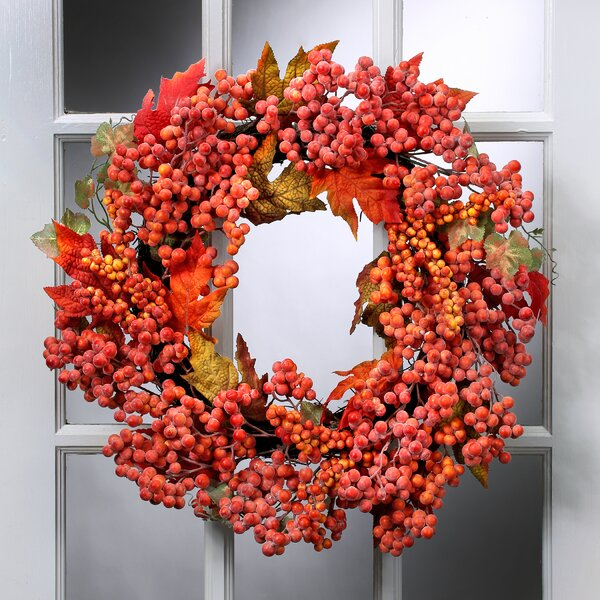 24 Waterproof Frosted Berry Oak Leaf Wreath by August Grove