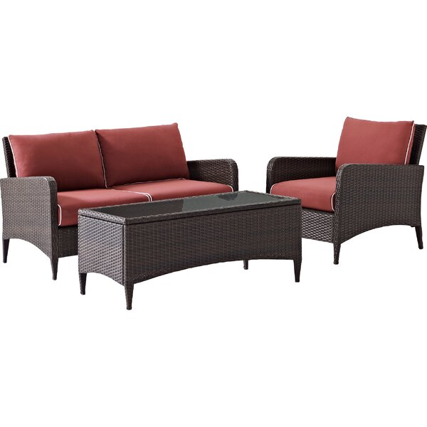 Mosca 3 Piece Sofa Set with Cushions by World Menagerie