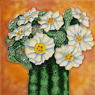 Cactus with White Flowers Tile Wall Decor by Continental Art Center