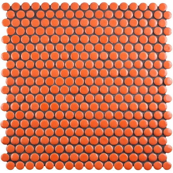 Celestia Penny Round 0.6 x 0.6 Porcelain Mosaic Tile in Orange by EliteTile