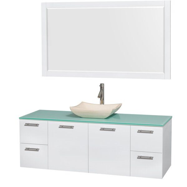 Amare 60 Single White Bathroom Vanity Set with Mirror by Wyndham Collection