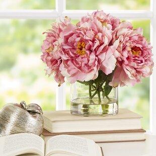 Faux pink flowers in vase wayfair scollfyld pink peony in acrylic water glass vase mightylinksfo