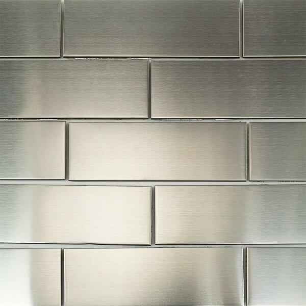 2 x 10 Metal Subway Tile in Stainless Steel by Splashback Tile