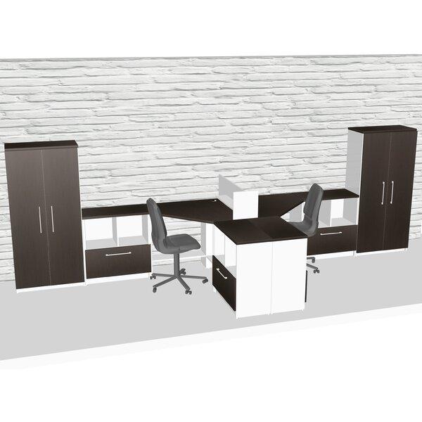 Compact Space Maximum Collaboration 9 Piece L-Shape Desk Office Suite by TeamCENTERoffice