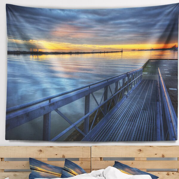 Seascape Azure Waters Behind Pier Tapestry and Wall Hanging by East Urban Home