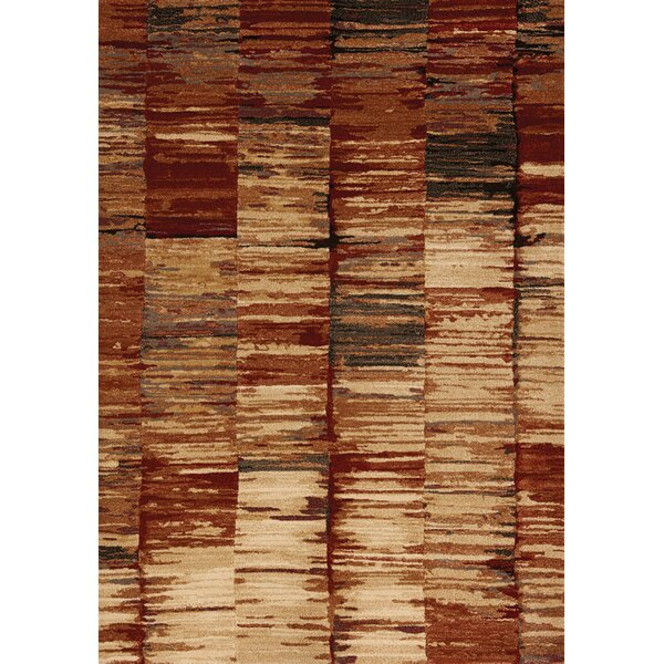 Ballesteros Abstract Stripes Beige/Red Area Rug by Wrought Studio