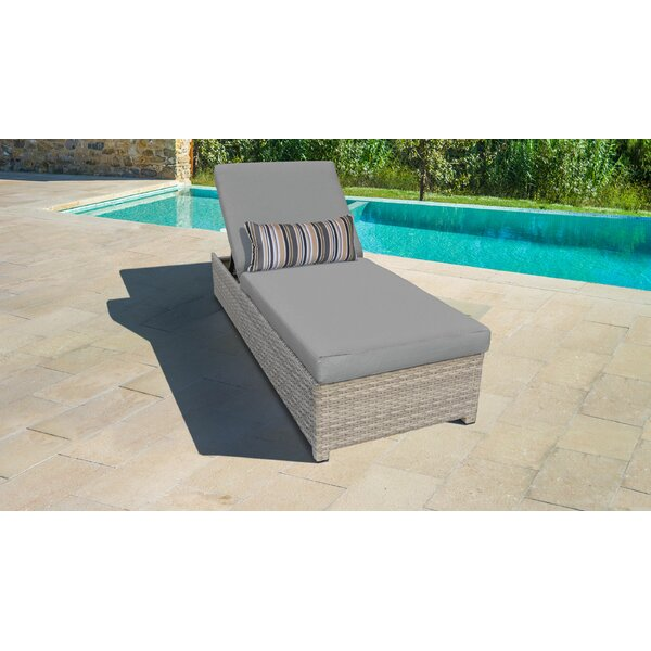 Waterbury Wheeled Outdoor Wicker Reclining Chaise Lounge with Cushion