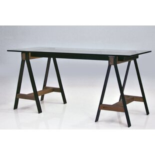 Affordable Menelaus A-frame Reclaimed Solid Elm Wood Writing Desk with Tempered Glass Top by Brayden Studio