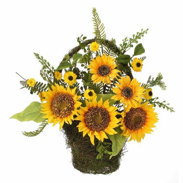 16 Mixed Sunflower Floral Arrangement Basket by Regency International