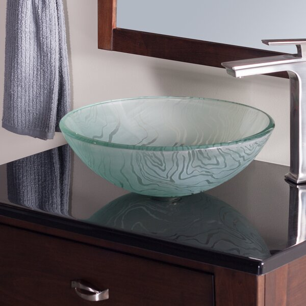 Gelo Glass Circular Vessel Bathroom Sink by Novatto