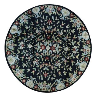 Best Choices One-of-a-Kind Knecht Botanical Hand-Knotted Black/Beige Area Rug By Bloomsbury Market
