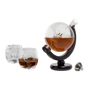 Etched 28 oz. World Globe Decanter with 2 Glasses