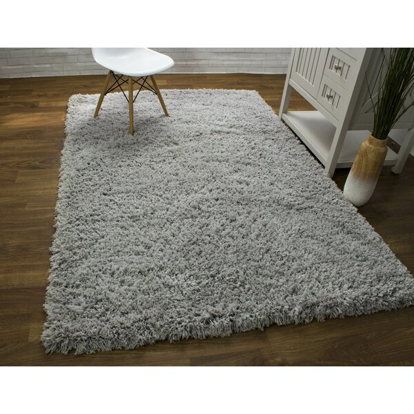 Ambriz Microfiber Ultra Soft Shag Silver Area Rug by Harriet Bee