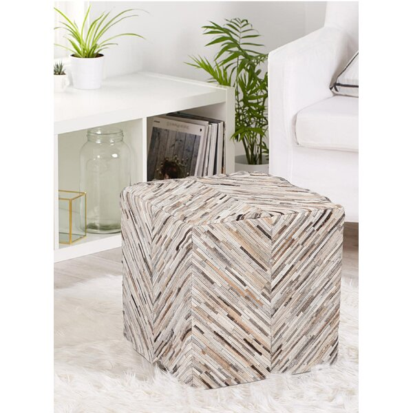 Briarhill Handmade Cow HIde Leather Square Pouf by Wrought Studio