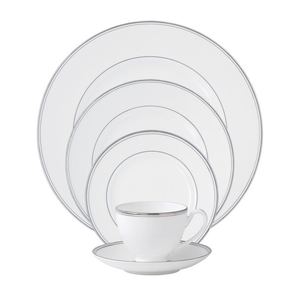 Kilbarry Platinum 5 Piece Bone China Place Setting, Service for 1 by Waterford