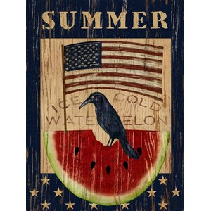 Americana Summer Watermelon and Flag by Beth Albert Graphic Art on Wrapped Canvas by Buy Art For Less