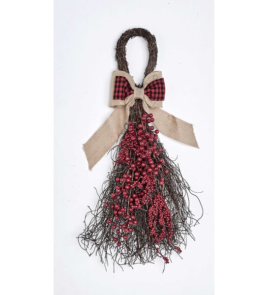 27 Berry Teardrop Burlap Bow Swag by The Holiday Aisle