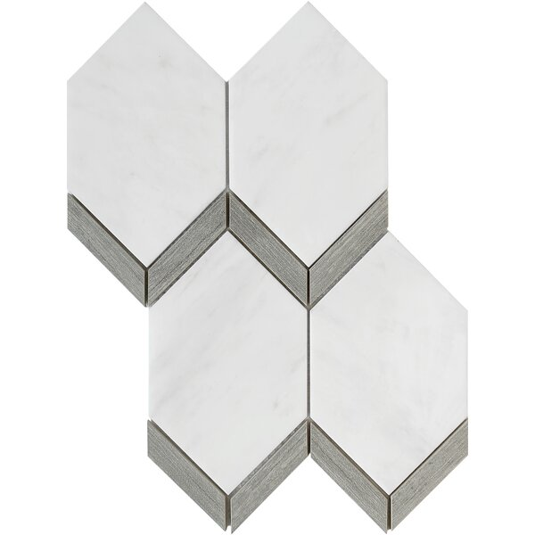 Intrigue Random Sized Mixed Material Mosaic Tile in White by Emser Tile
