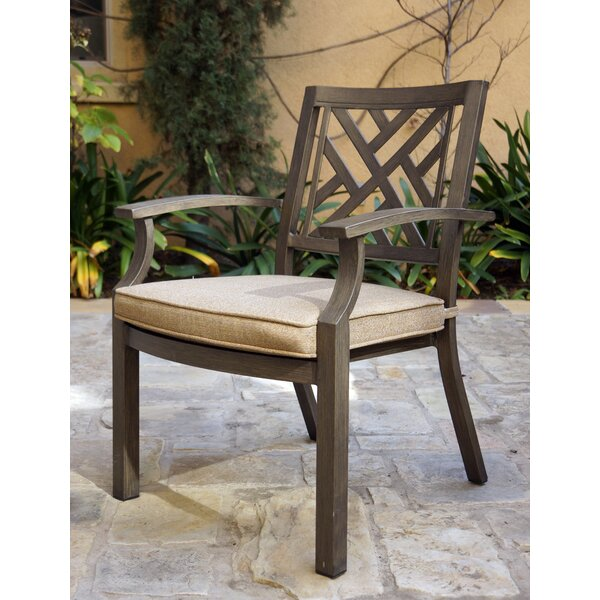 Milania Stacking Patio Dining Chair with Cushion (Set of 4) by Gracie Oaks Gracie Oaks