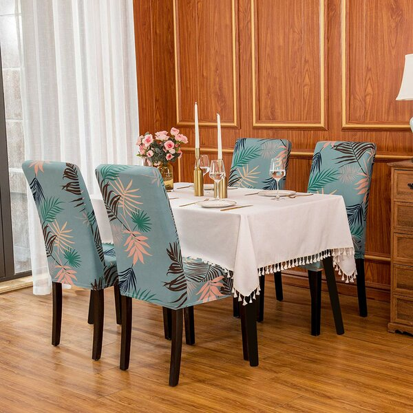 Ultra Soft Stretch Leaf Printed Anti-dirty Fitted Dining Chair Slipcover (Set Of 2) By Bayou Breeze