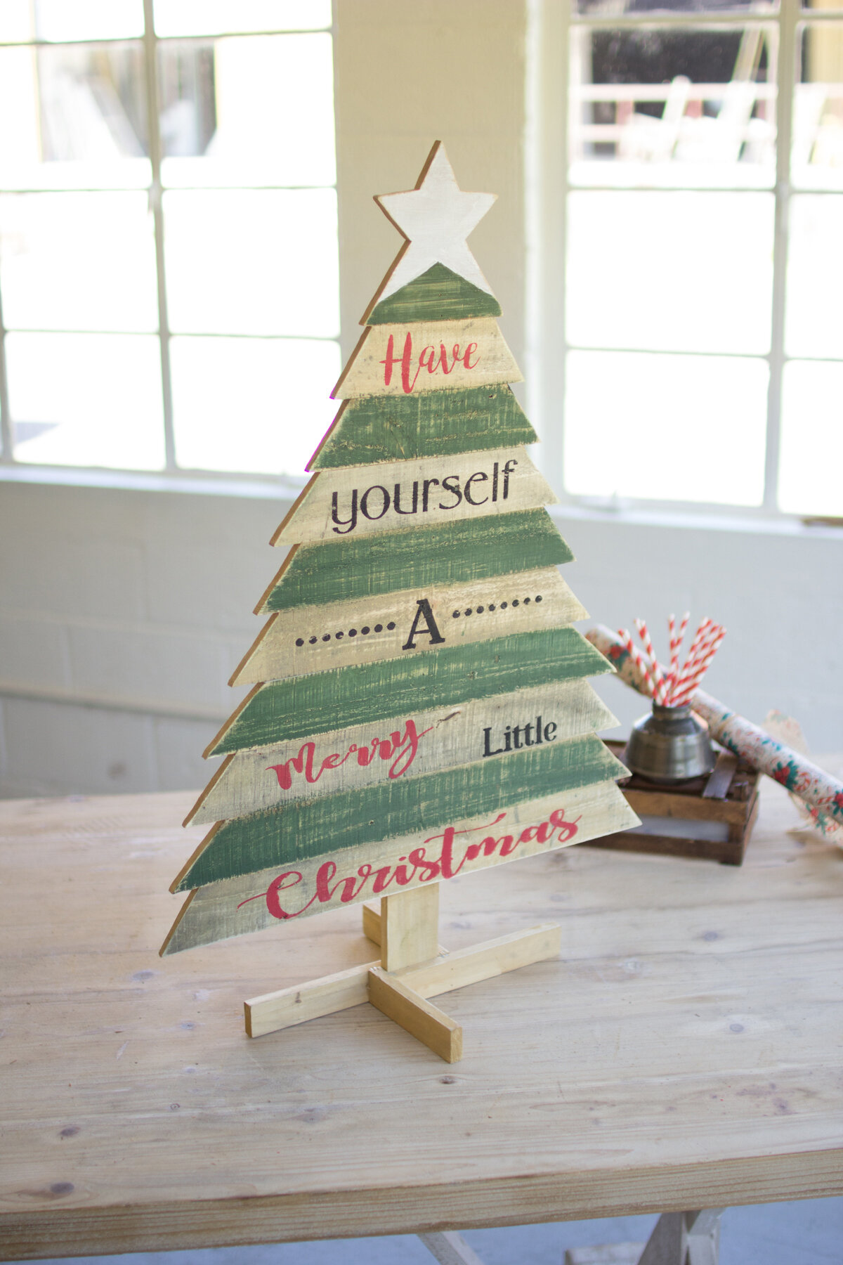 Wooden Christmas Tree With Saying