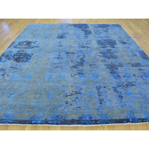 One-of-a-Kind Bearman Broken Design Hand-Knotted Blue Wool/Silk Area Rug by Isabelline