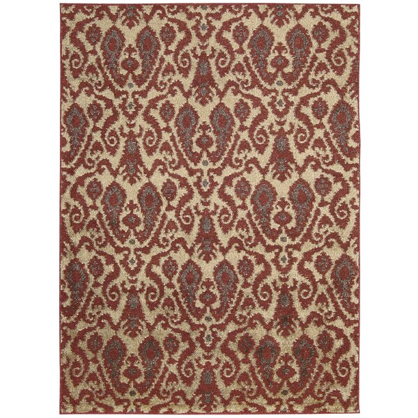 Duarte Ivory/Red Area Rug by Bloomsbury Market