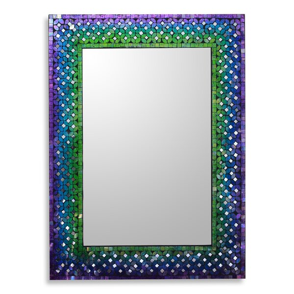 Unique Artisan Crafted Glass Mosaic Tile Wall Mirror by Novica