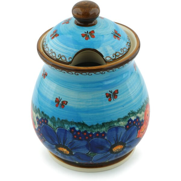 Polish Pottery Field of Butterflies with Lid Kitchen Canister by Polmedia