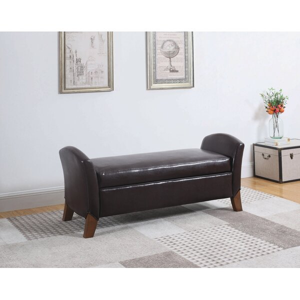 Delacruz Faux Leather Storage Bench by Loon Peak