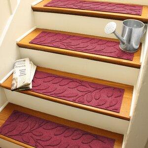 Aqua Shield Red Brittany Leaf Stair Tread (Set of 4)