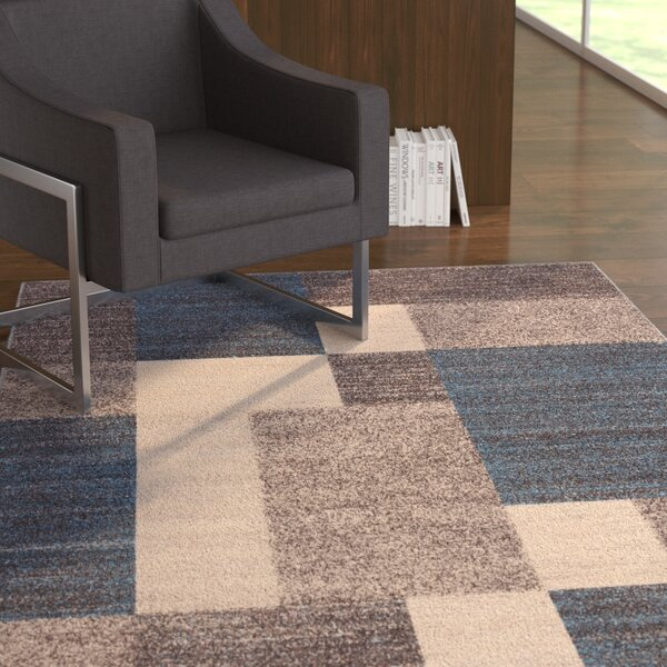 Brighouse Boxes Design Non-Slip Blue/Brown Area Rug by Wade Logan