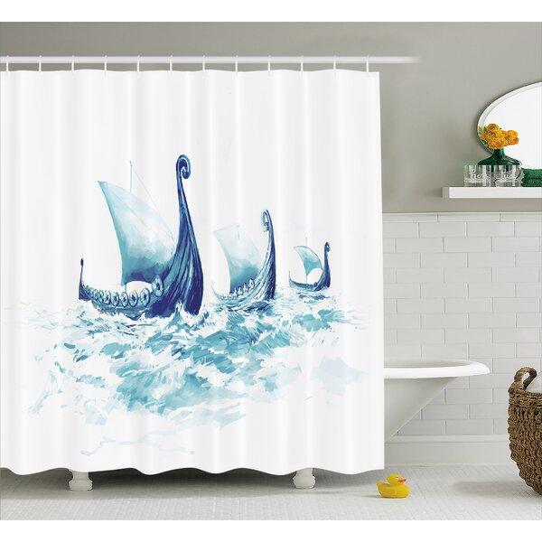 Viking Decor Ship Nordic Sea Shower Curtain by East Urban Home
