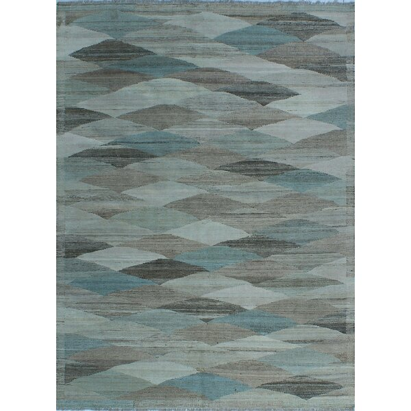 Howerton Hand-Knotted Wool Blue Area Rug by Red Barrel Studio