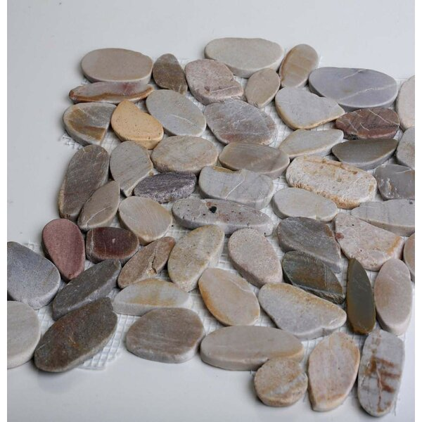 Sandy Beach Random Sized Natural Stone Mosaic Tile in Gray Silver by FuStone