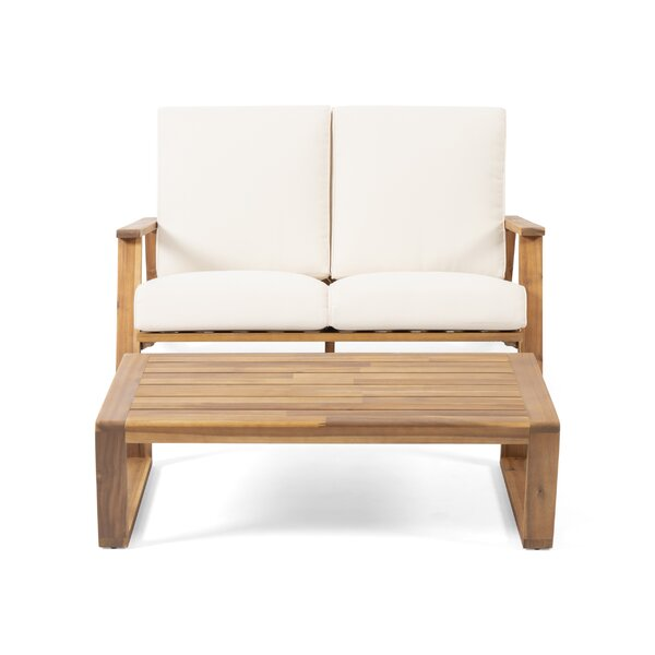 Newport Outdoor 2 Piece Sofa Seating Group with Cushions by George Oliver