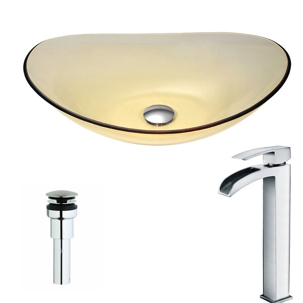 Mesto Glass Circular Vessel Bathroom Sink with Faucet by ANZZI