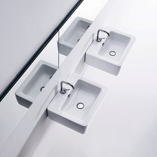 Read Reviews Ego Ceramic 20 Wall Mount Bathroom Sink with Overflow By WS Bath Collections
