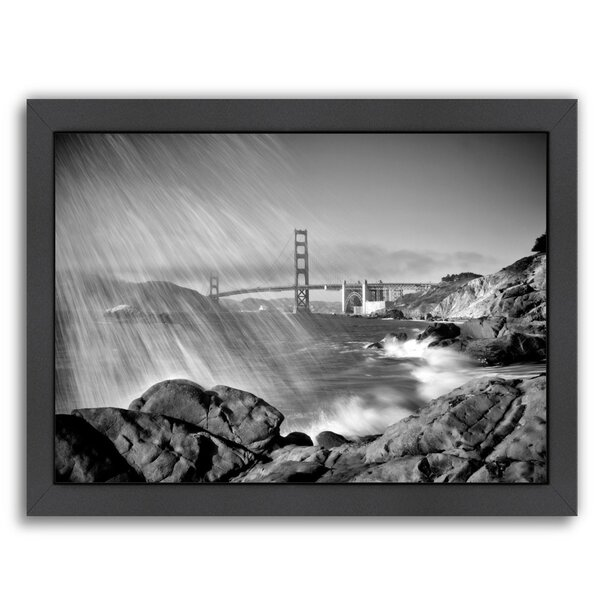 San Francisco Baker Beach Monochrome Framed Photographic Print by East Urban Home