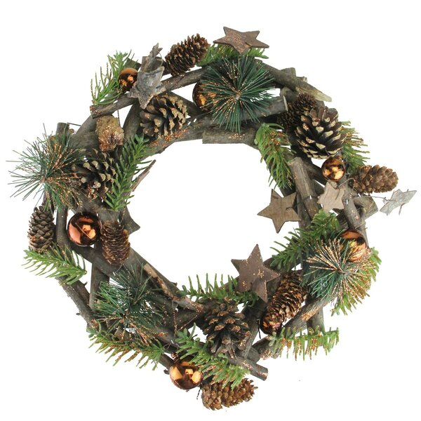 Christmas 12 Stars And Ornaments Twig Wreath by The Holiday Aisle