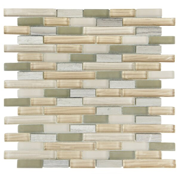 Sierra Random Sized Glass and Natural Stone Mosaic Tile in Gray/Beige by EliteTile