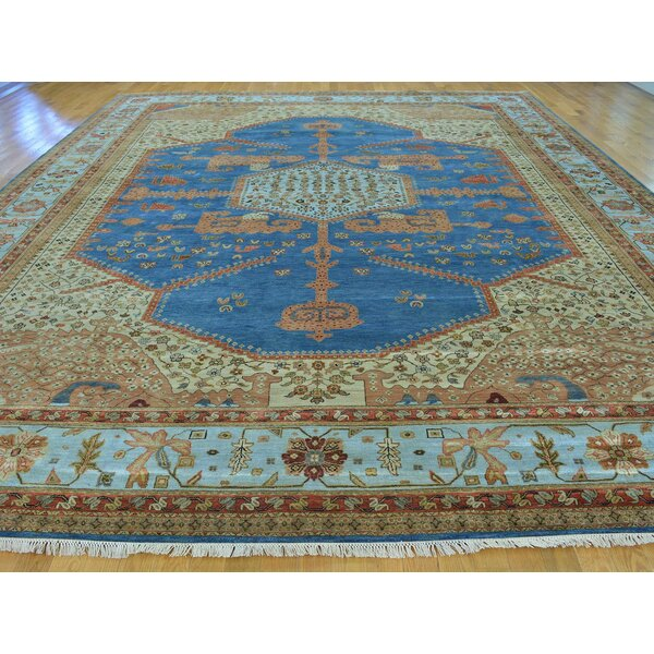 One-of-a-Kind Beulah Bakshaish Vegetable Dyes Hand-Knotted Blue Wool Area Rug by Isabelline