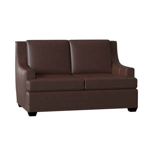 Young Stationary Leather Loveseat By Bradington-Young
